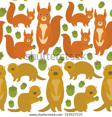 Seamless pattern Set of funny red squirrels with Gopher ground squirrel fluffy tail with acorn isolated on white background. Vector - stock vector