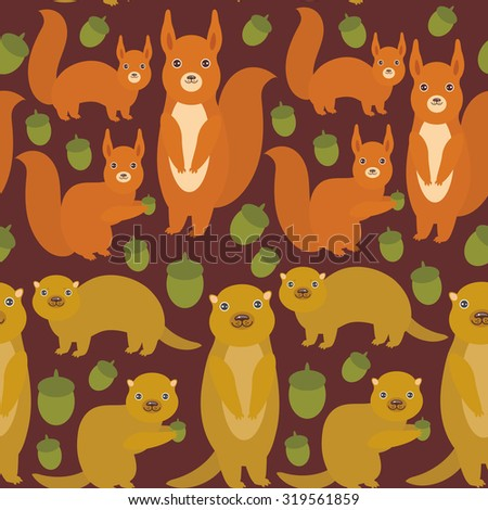 Seamless pattern Set of funny red squirrels with Gopher ground squirrel fluffy tail with acorn on dark brown burgundy background. Vector - stock vector