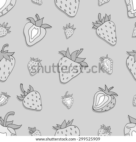 Seamless pattern Set of monochrome strawberries background. Hand drawn sketch. vector