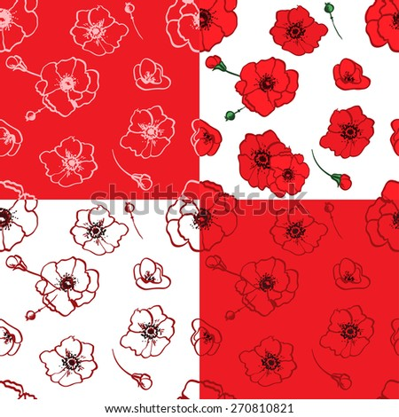seamless pattern set red poppies branch decorative vector illustration - stock vector