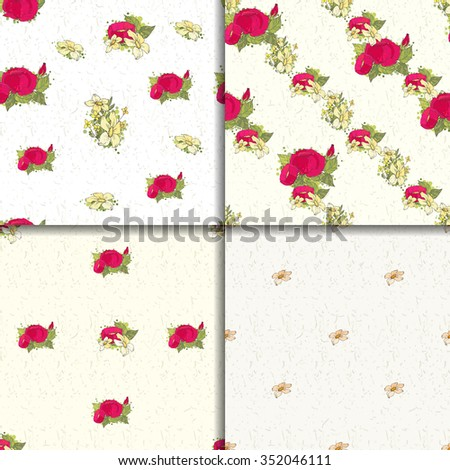 Seamless pattern set with red peonies and small yellow flowers on white background - stock vector