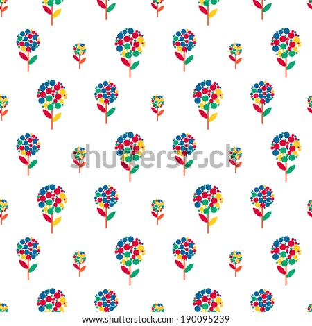 Seamless pattern - simple flower background - stock vector