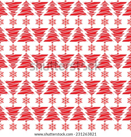 Seamless pattern. Simple ornament with Christmas trees. - stock vector