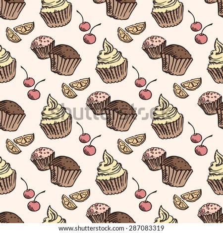 Seamless pattern sketch cupcake. abstract background. Vector
