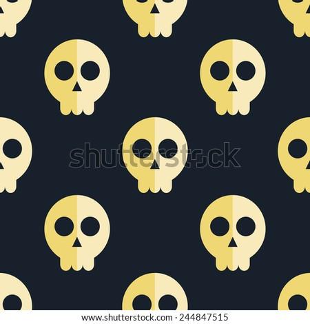 seamless pattern skulls background - stock vector