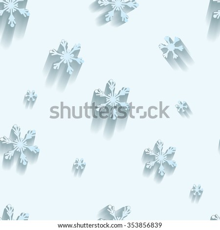 Seamless pattern.  Snowflakes on light blue background