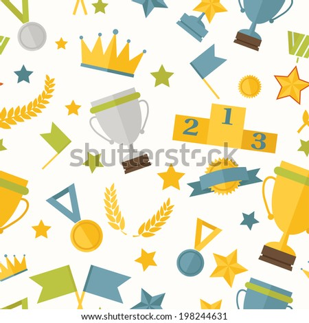 Seamless pattern sports theme with awards and trophies. Eps 10