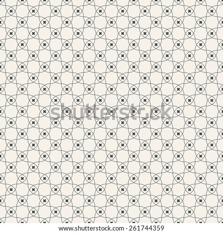 Seamless pattern. Stylish geometric texture with repeating circular elements. Monochrome. Backdrop. Web. Outline. Vector illustration - stock vector