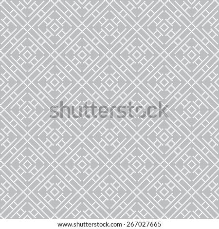 Seamless pattern. Stylish pixel geometric texture. Repeating diamonds, squares and polygons. Monochrome. Backdrop. Web. Vector illustration for your design - stock vector