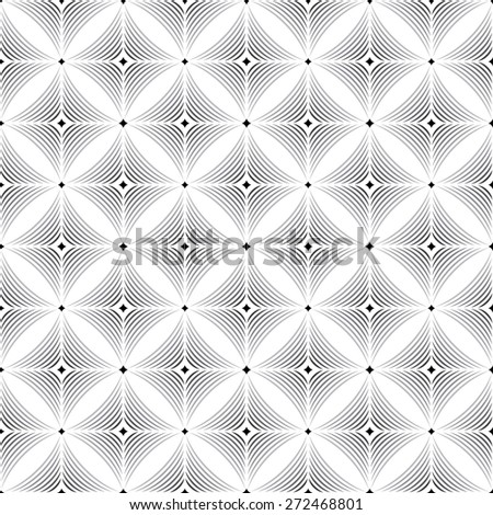 Seamless pattern. Stylish texture. Tile with repeating geometric shapes. Circle, rhombus, arc, oval. Monochrome. Backdrop. Web. Vector illustration - stock vector
