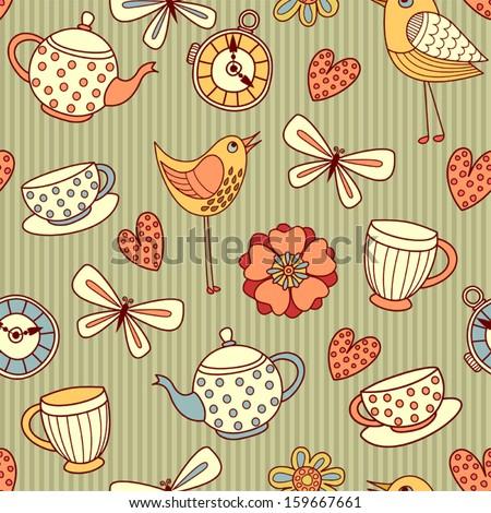"Seamless pattern ""summer tea party"" - stock vector"