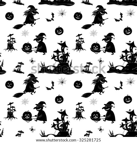 Seamless Pattern, Symbols Halloween Holiday, Black Silhouettes on White Background. Vector - stock vector