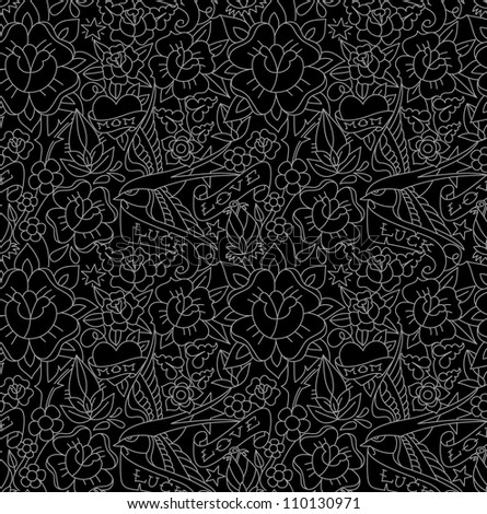Seamless pattern, tattoo old school style - stock vector
