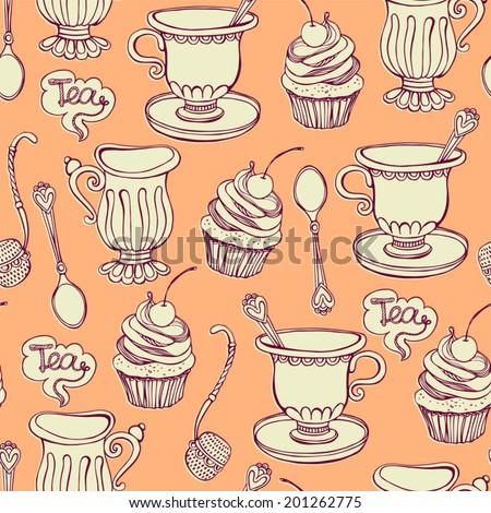 Seamless pattern. Tea party. - stock vector