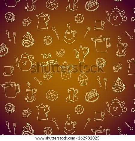 Seamless pattern. Tea party theme. - stock vector