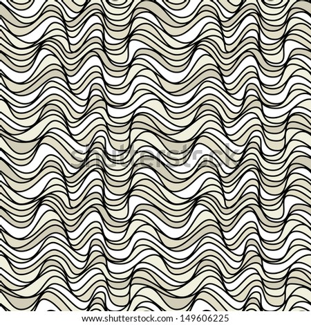 Seamless pattern. Texture of wavy stripes. Stylized water ripple. Hand drawn doodle