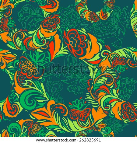 Seamless pattern.The composition of the carpal elements of painting.Contrast and vivid colors. Green, red, orange details arranged in a circle. Template for fabric, wrapping paper. 5 spot colors. - stock vector