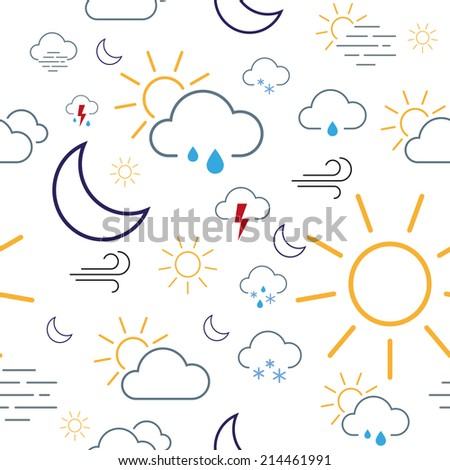 Seamless pattern tile made of isolated weather icons - stock vector