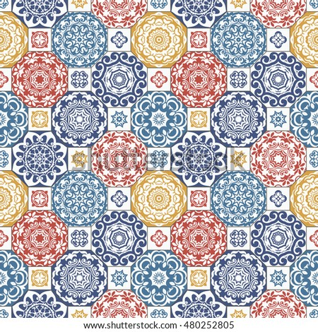 Seamless pattern, TILE, shades of Blue, Yellow and Red. Classic tile pattern with abstract circles, floral decorative design