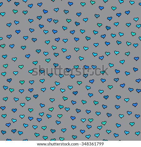 Seamless pattern. Tiny blue and green hearts. Abstract repeating. Cute backdrop. Gray background. Template for Valentine's, Mother's Day, wedding, scrapbook, surface textures. Vector illustration. - stock vector