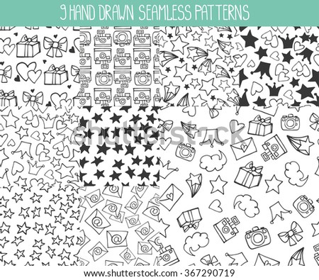 Seamless  pattern.Trendy Hand drawing blog background with linear doodle design elements. Vector  illustration,vintage sketch.Wallpaper,backdrop, cute feminine decoration,black silhouette - stock vector
