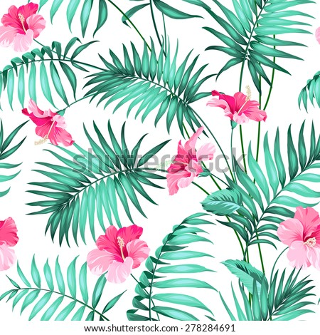 Seamless pattern. Tropical background with flowers. Vector illustration. - stock vector