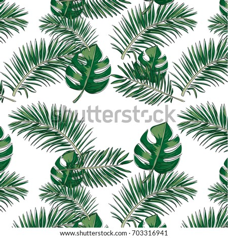 Tropical Leaf BackgroundPalm Wallpaper Hand Drawn