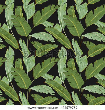 Seamless Pattern. Tropical Palm Leaves Background. Banana Leaves Vector Background. Exotic Flowers Texture. Floral Wallpaper. - stock vector