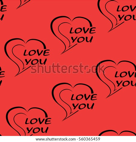 Seamless pattern two hearts and the words love you. Black heart on a red background. Valentine's Day wallpaper. Hand drawing heart. Vector illustration. Love background.