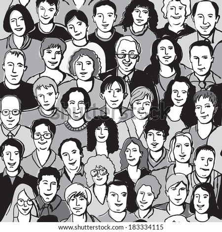 Seamless pattern unrecognizable people faces in crowd Crowd of unrecognizable people. Seamless pattern. Black and white vector illustration. - stock vector