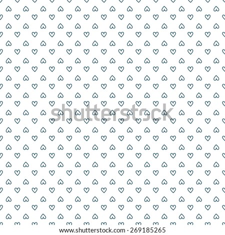 Seamless pattern. Vector abstract background. Small dark blue hearts on white background.  - stock vector