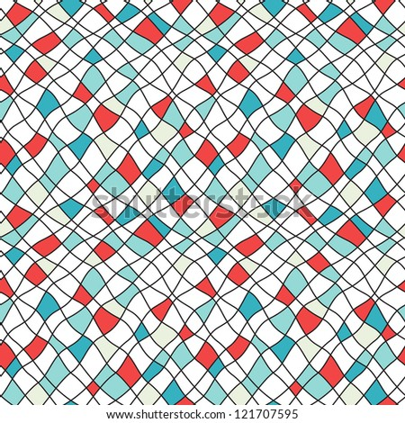 Seamless pattern. Vector abstract background with small curve diamonds - stock vector