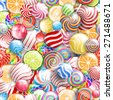 Seamless pattern vector  background with lollipops. candies and sweets, bright and colorful  - stock vector