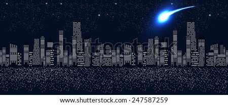 Seamless Pattern Vector Illustration of Cities Silhouette. EPS10