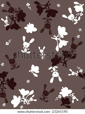 Seamless pattern vector showcasing a little bunny and flowers - stock vector