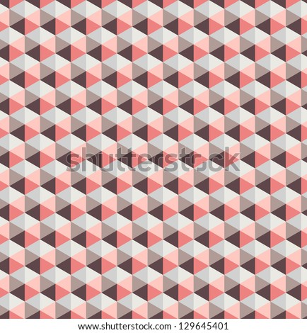 Seamless pattern. Vector texture. Geometrical pink triangles background - stock vector