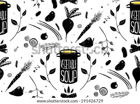 Seamless Pattern Vegetable Soup in Black. Food background illustration in black ink. Vector EPS8 - stock vector