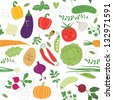 seamless pattern , vegetables illustrations - stock vector