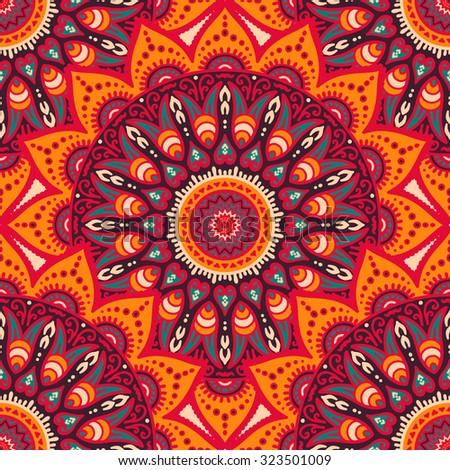 Seamless pattern. Vintage decorative elements. Hand drawn background. Islam, Arabic, Indian, ottoman motifs. - stock vector