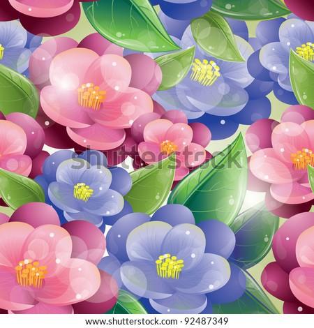 Seamless pattern - Violet flowers, vector illustration, eps-10 - stock vector