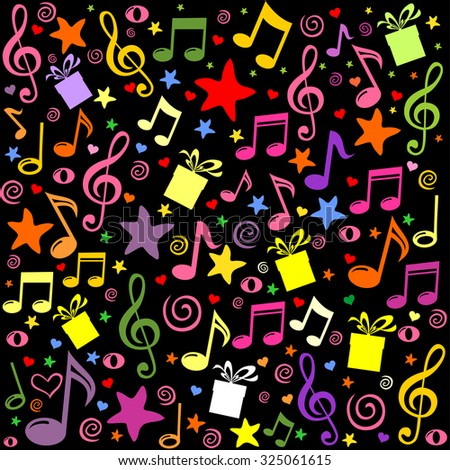 Seamless pattern wallpaper of musical notes, gift box, stars. Vector Illustration