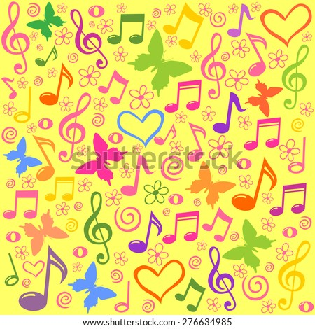 seamless pattern wallpaper of musical notes. Vector Illustration - stock vector