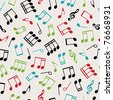seamless pattern wallpaper of musical notes, with clipping path - stock vector