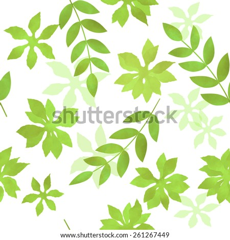Seamless pattern watercolor beautiful green leaves.  Pattern can be used for wallpaper, pattern fills, web page background, surface textures
