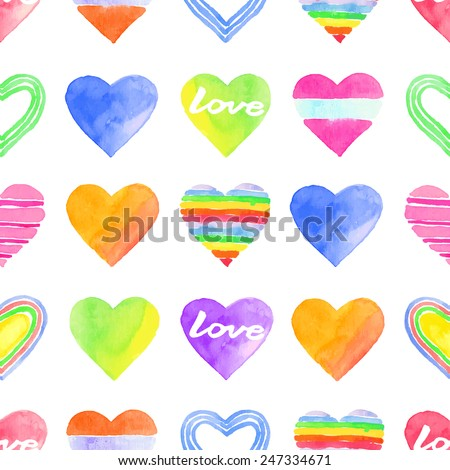 Seamless pattern watercolor colorful hearts, valentine's day, paper, textile, fabric, wrapper, wallpaper,vector - stock vector
