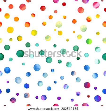 Seamless pattern: watercolor rainbow colored confetti scattered evenly. Hand painted in watercolor confetti vector illustration - stock vector