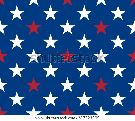 Seamless pattern. White and red five pointed stars on blue background - stock vector