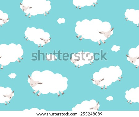 Seamless pattern. White sheep and cloud on the blue sky. Vector illustration - stock vector