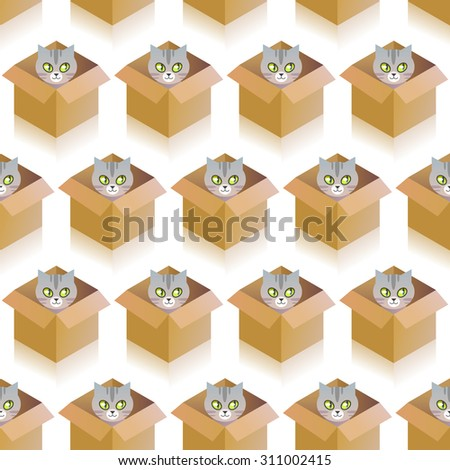 Seamless pattern wit funny cat in the box. - stock vector