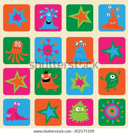 Seamless pattern with a colorful monsters and stars - stock vector
